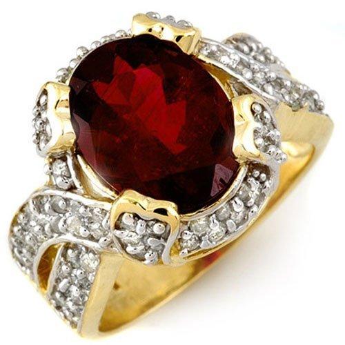 Genuine 4.50ct Rubellite & Diamond Ring 14K Yellow Gold