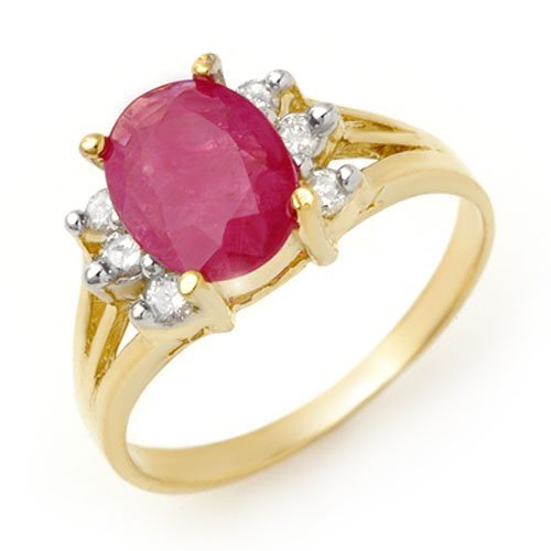 Genuine 2.48 ctw Ruby & Diamond Ring 14K Yellow Gold