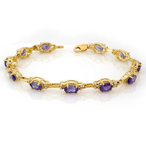 Genuine 8.0 ctw Tanzanite Bracelet 10K Yellow Gold