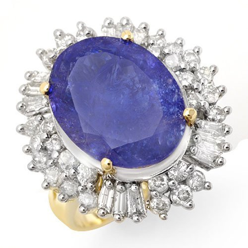 Genuine 12.75 ctw Tanzanite & Diamond Ring 14K Gold