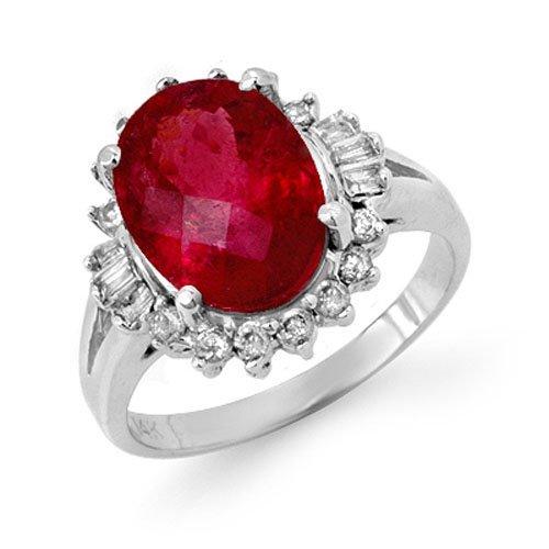 Genuine 3.56ctw Rubellite & Diamond Ring 14K White Gold