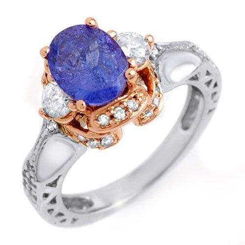 Genuine 2.82ctw Tanzanite & Diamond Ring 14K Multi tone