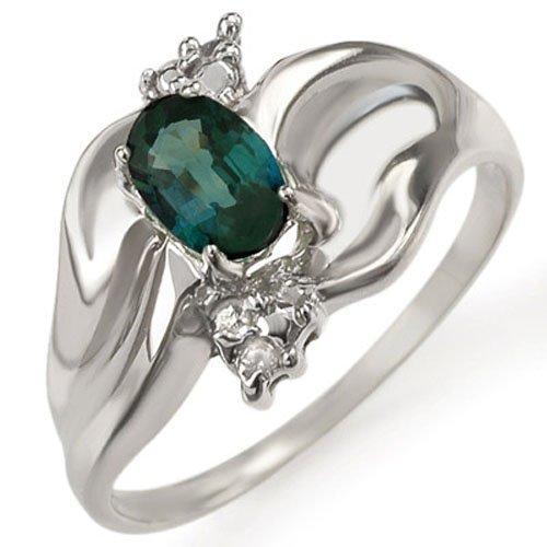 Genuine 0.79ctw Blue Sapphire & Diamond Ring White Gold