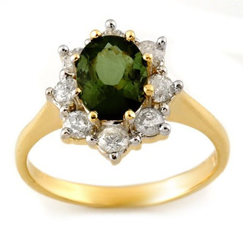 Genuine 2.50ctw Green Tourmaline & Diamond Ring Gold
