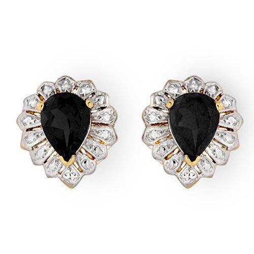 Genuine 2.20 ctw Sapphire Stud Earrings 10K Yellow Gold
