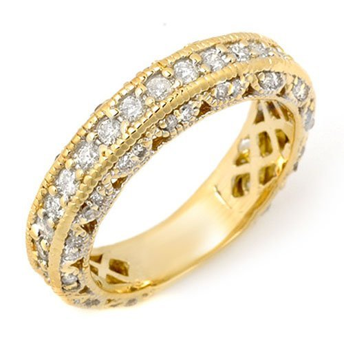 Natural 1.0 ctw Diamond Engagement Ring 14K Yellow Gold