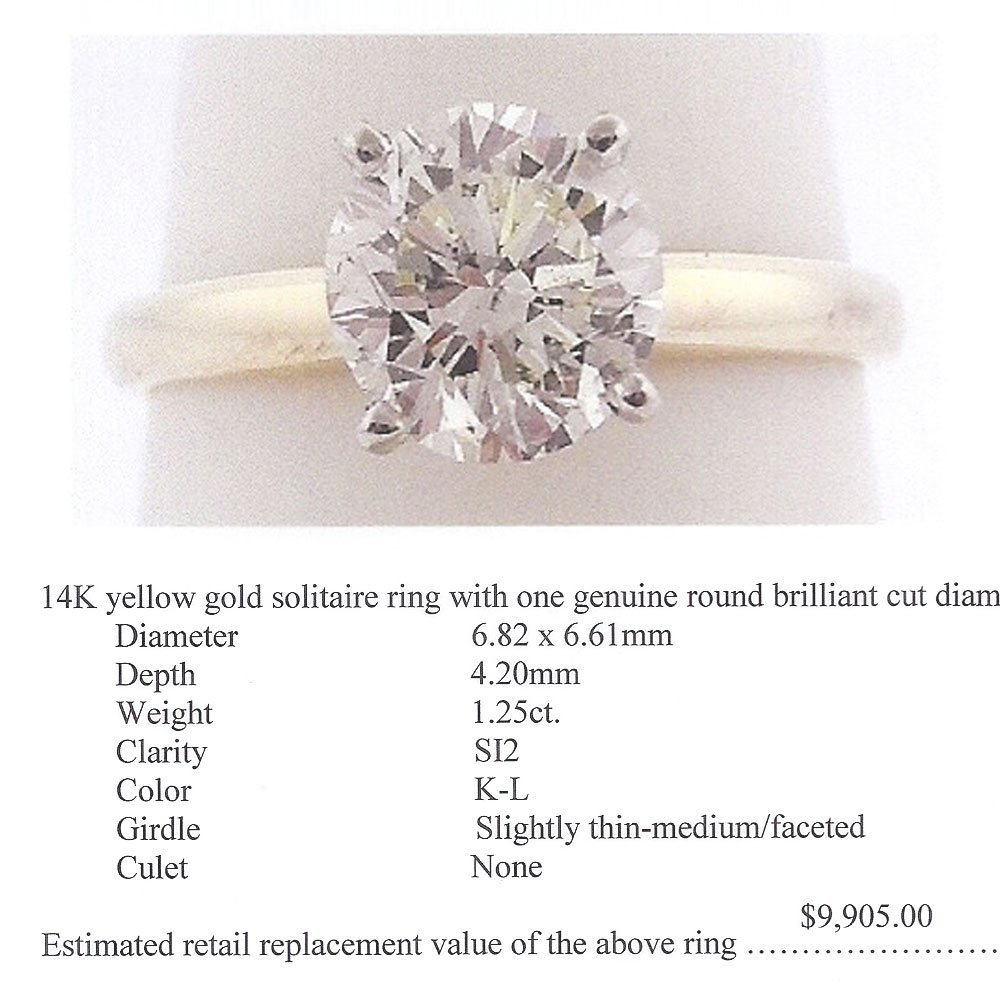 Natural 1.25ct Solitaire SI2 Diamond Ring 14K Yellow