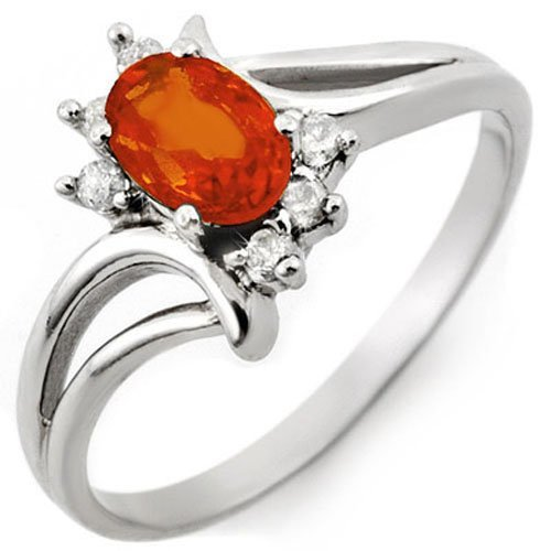 Genuine 0.70ctw Orange Sapphire & Diamond Ring 10K Gold
