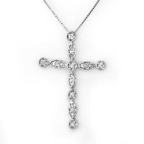 Natural 0.45 ctw Diamond Necklace 10K White Gold