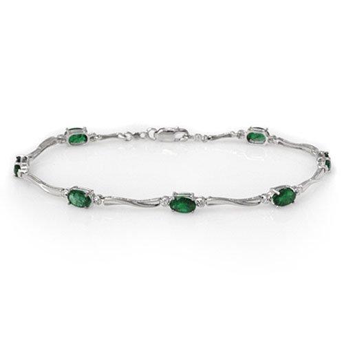 Genuine 3.52 ctw Emerald & Diamond Bracelet White Gold