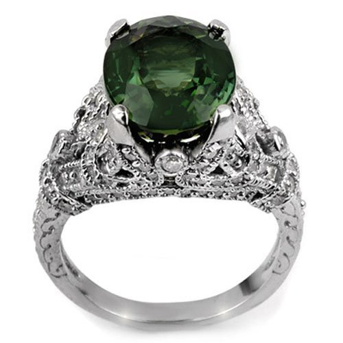 Genuine 7.10ctw Green Tourmaline & Diamond Ring Gold