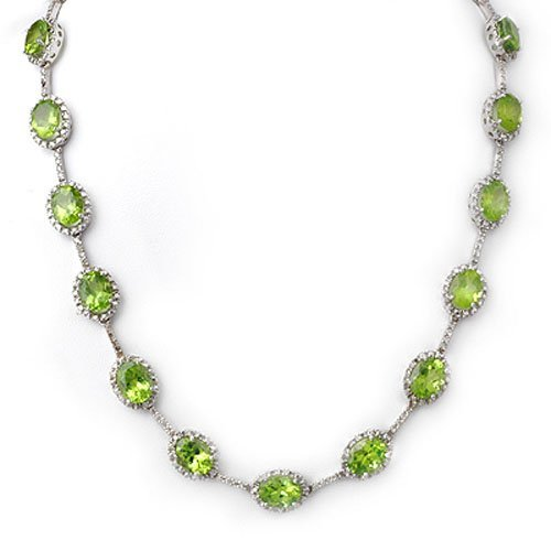 Genuine 45 ctw Peridot & Diamond Necklace White Gold