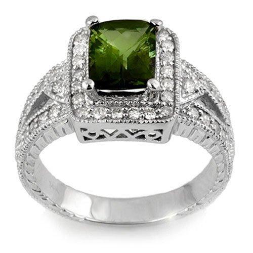 Genuine 2.55 ctw Green Tourmaline & Diamond Ring Gold
