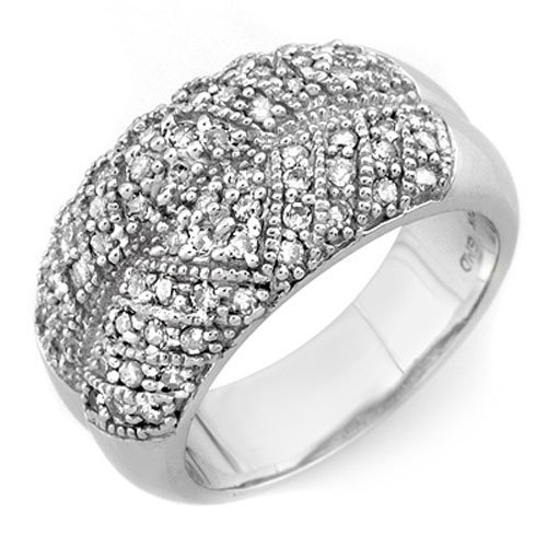 Natural 0.75 ctw Diamond Ring 10K White Gold