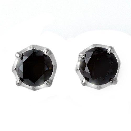 Natural 2.50 ctw Black Diamond Stud Earrings 14K Gold