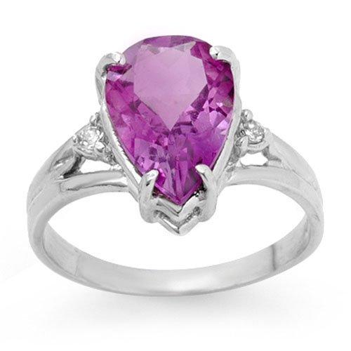 Genuine 2.55 ctw Amethyst & Diamond Ring 10K White Gold