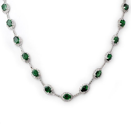 Genuine 21.0 ctw Emerald & Diamond Necklace White Gold