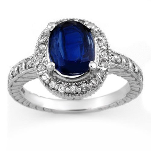 Genuine 4.40 ctw Kaynite & Diamond Ring 14K White Gold