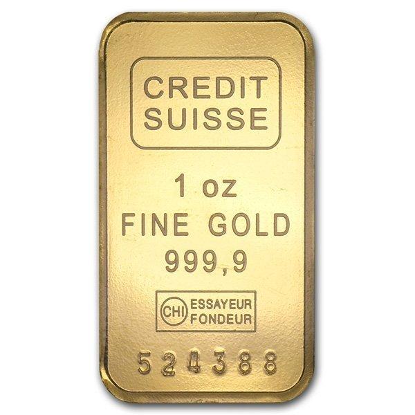 Credit Suisse Gold Bar 1 oz - .9999 Fine Gold