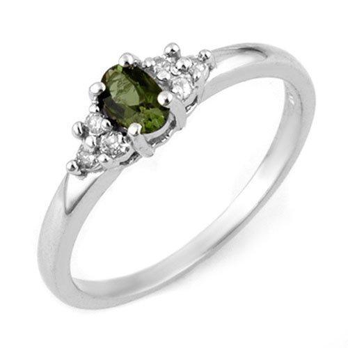 Genuine 0.44 ctw Green Tourmaline & Diamond Ring Gold