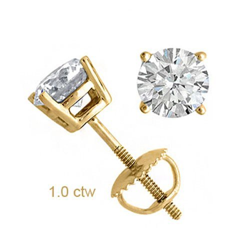 Natural 1.0 ctw Diamond Stud Earrings 14K Yellow Gold