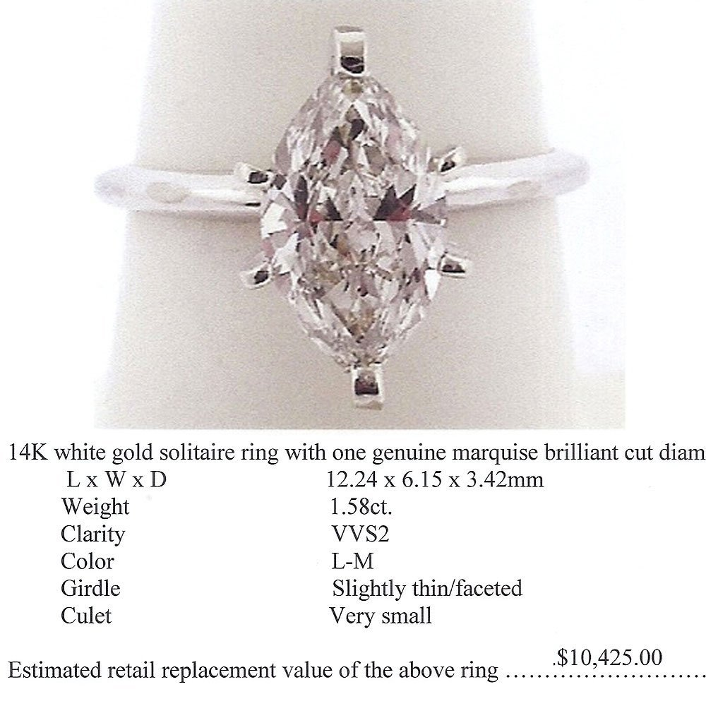 Natural 1.58ct Solitaire VVS2 Diamond Ring 14K White