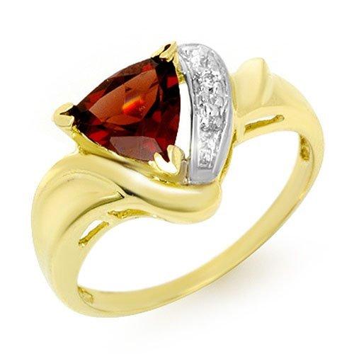 Genuine 1.28 ctw Garnet & Diamond Ring 10K Yellow Gold