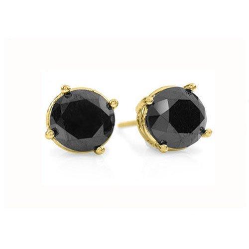 Natural 1.0 ctw Black Diamond Stud Earrings 14K Gold