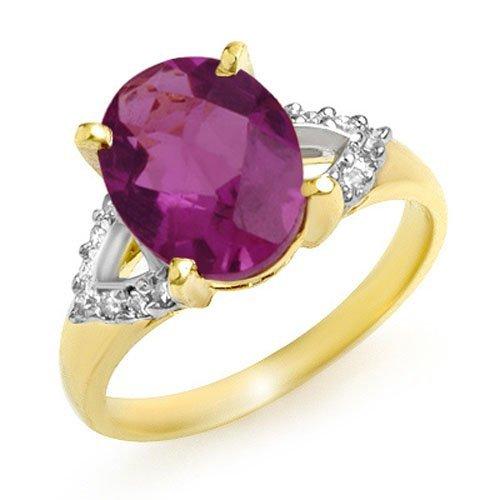 Genuine 3.20ctw Amethyst & Diamond Ring 10K Yellow Gold