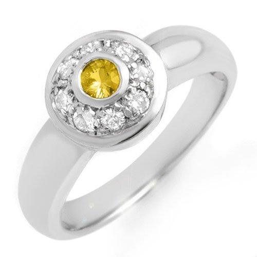 Genuine 0.35 ctw Yellow Sapphire & Diamond Ring 14k