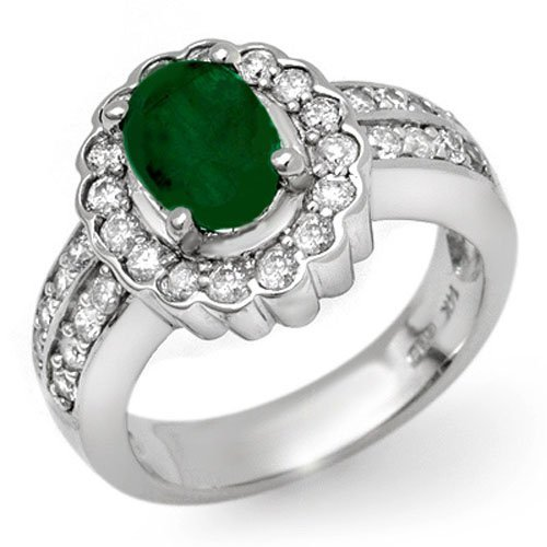 Genuine 2.25 ctw Emerald & Diamond Ring 14k Gold
