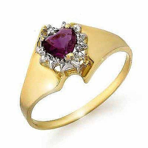 Genuine 0.40ctw Amethyst & Diamond Ring 10K Yellow Gold