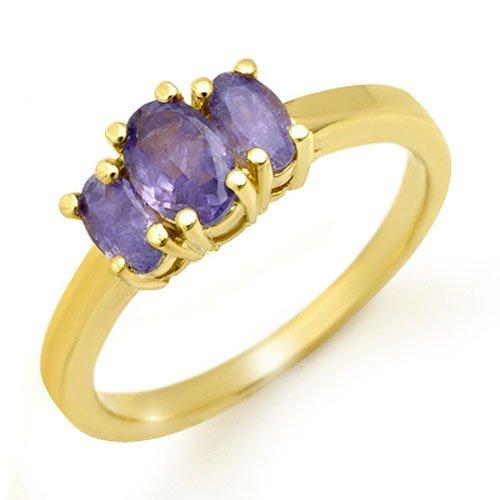 Genuine 1.0 ctw Tanzanite Ring 10K Yellow Gold