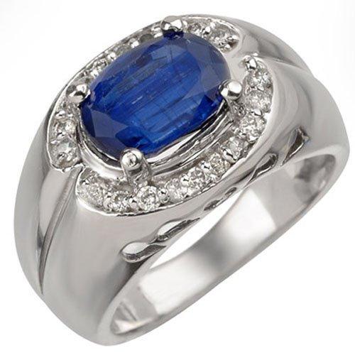 Genuine 3.33 ctw Kaynite & Diamond Ring 10K White Gold