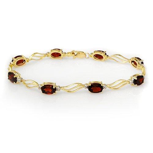 Genuine 8.02 ctw Garnet & Diamond Bracelet Yellow Gold
