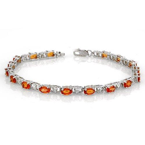 Genuine 6.02ctw Orange Sapphire & Diamond Bracelet Gold