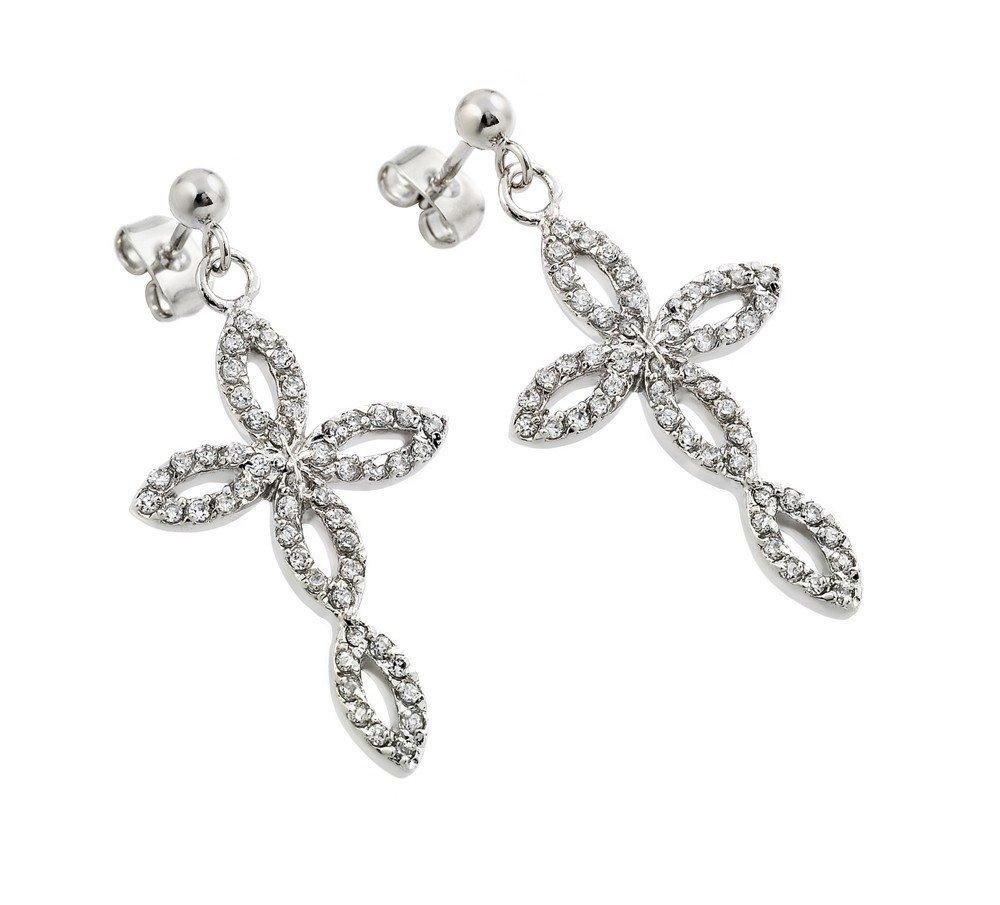 Silver Earrings .925 Ladies Sterling Jewelry bge00291