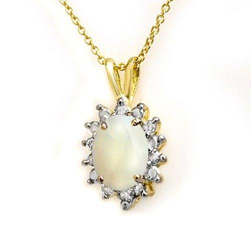 Genuine 1.0 ctw Opal & Diamond Pendant Yellow Gold