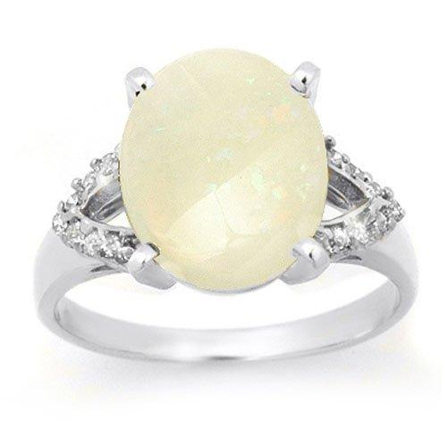 Genuine 2.75 ctw Opal & Diamond Ring 10K White Gold