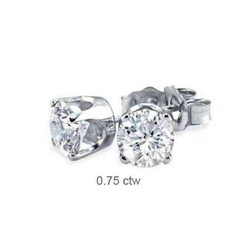 Natural 0.75 ctw Diamond Stud Earrings 14K White Gold