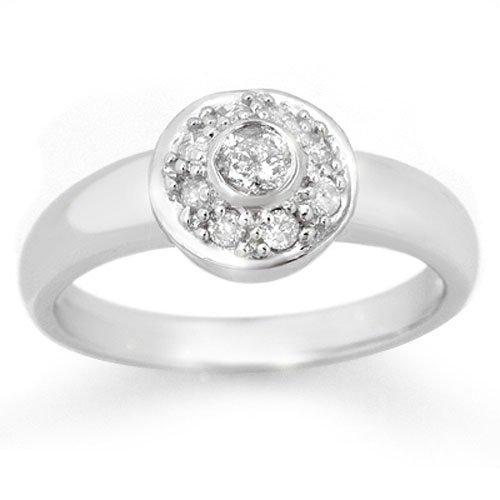 Natural 0.35 ctw Diamond Ring 10K White Gold