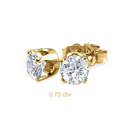 Natural 0.75 ctw Diamond Stud Earrings 14K Yellow Gold
