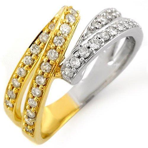 Natural 0.75 ctw Diamond Ring 10K Multi tone Gold
