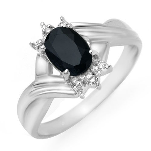 Genuine 1.03 ctw Sapphire & Diamond Ring 10K White Gold