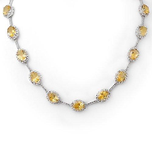 Genuine 37.0 ctw Citrine & Diamond Necklace White Gold