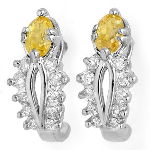Genuine 1.05ctw Yellow Sapphire & Diamond Earrings Gold