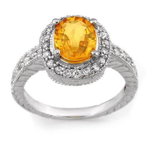 Genuine 2.90ctw Yellow Sapphire & Diamond Ring 14K Gold