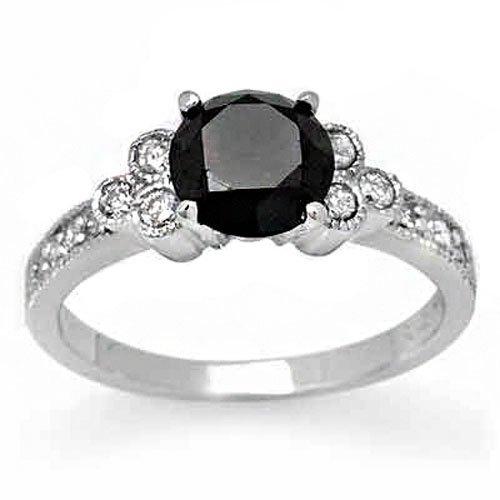 Natural 1.86 ctw White & Black Diamond Ring 14K Gold
