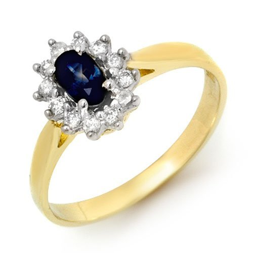 Genuine 0.51ctw Sapphire & Diamond Ring 10K Yellow Gold
