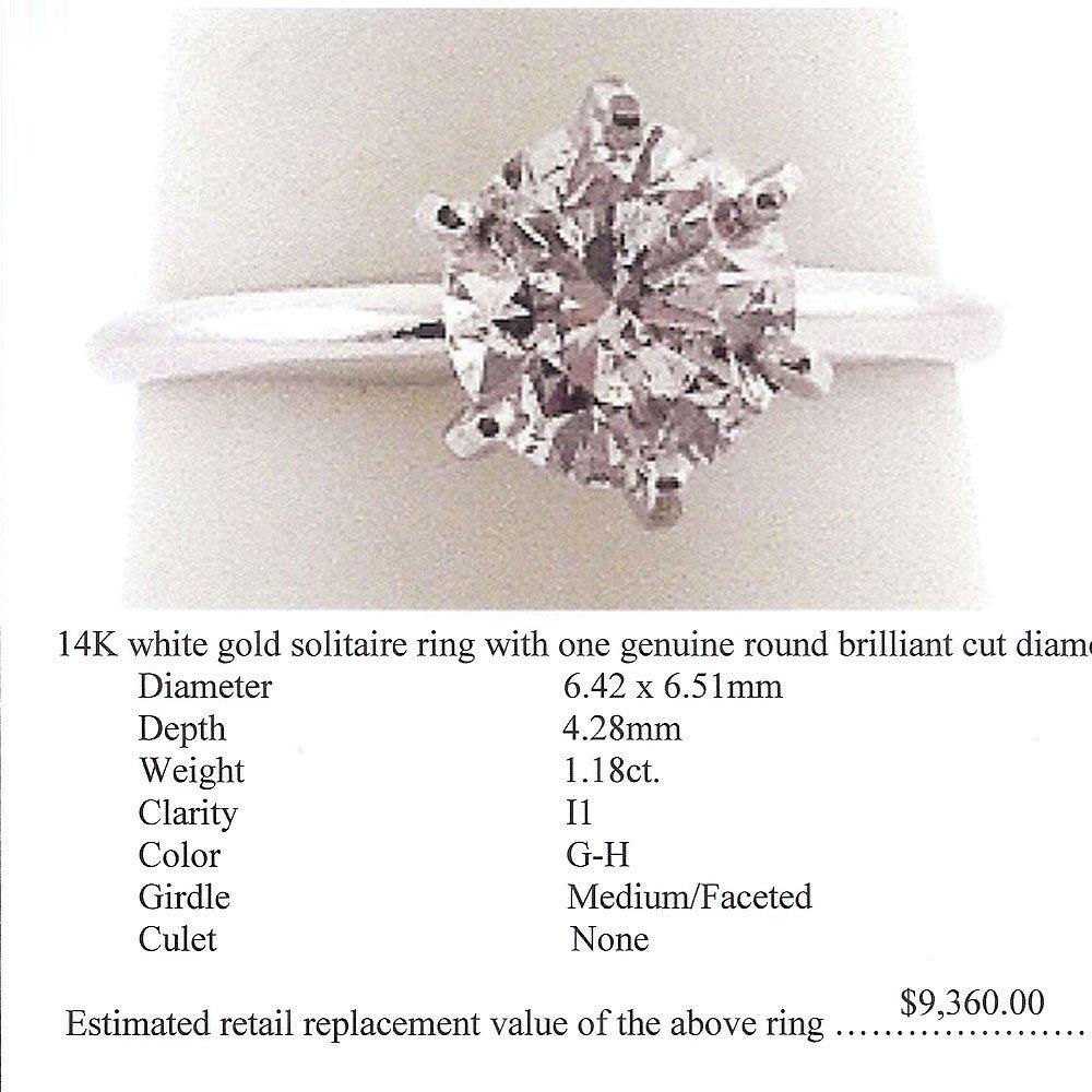Natural 1.18ct Solitaire I1 Diamond Ring 14K White Gold